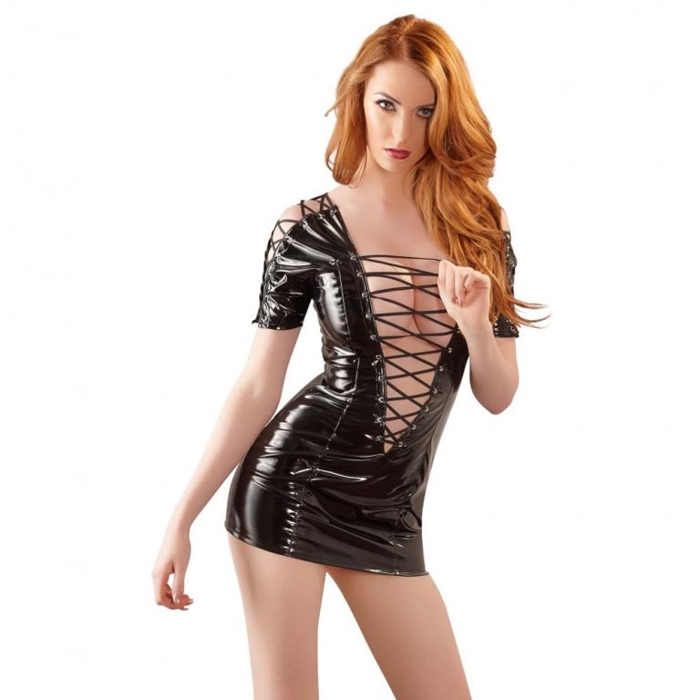 Lak kjole i sort med snøre Small