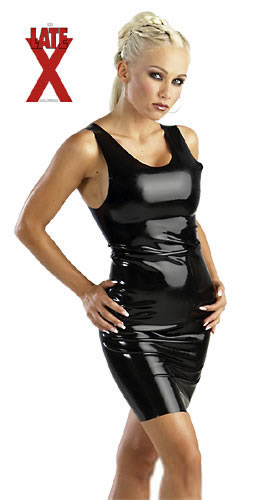Latex minikjole Sort XX-Large