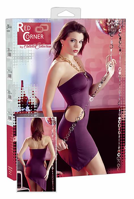 Violet Minikjole med cutouts og neckholder Medium