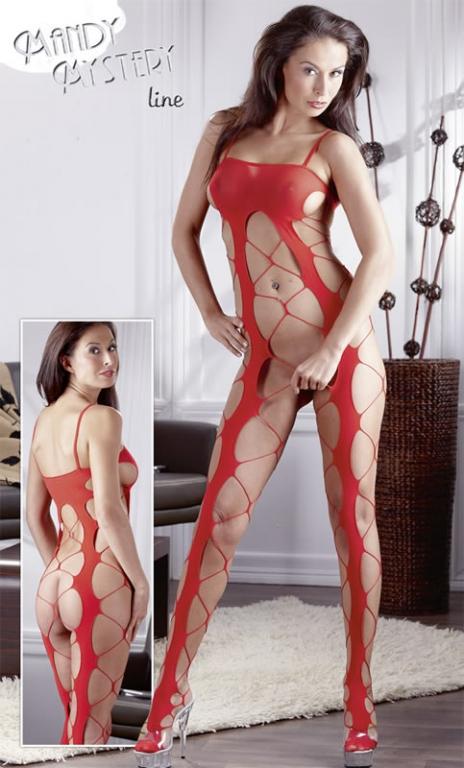 Net-Catsuit i rød med Store masker