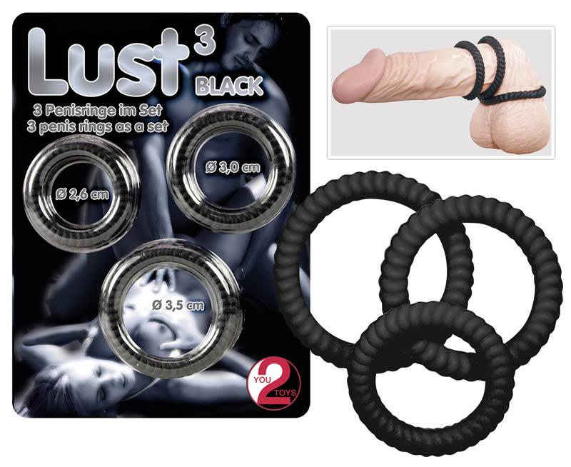 Billede af LUST 3 Penisringe i Sort