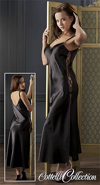 Image of   Satin Neglige i Sort Small/Medium