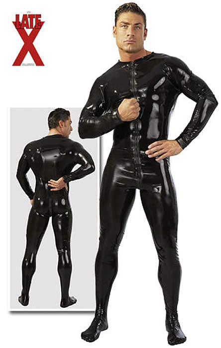 Image of   Herre Latex Heldragt i sort Large