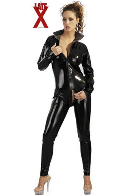Latex Catsuit i sort til Hende Small