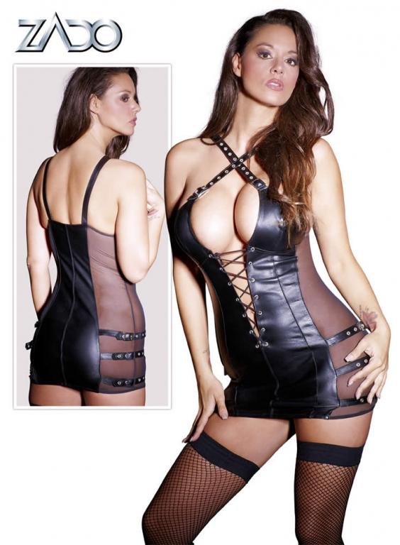 Læder Minikjole med Snører og Spænder X-Large