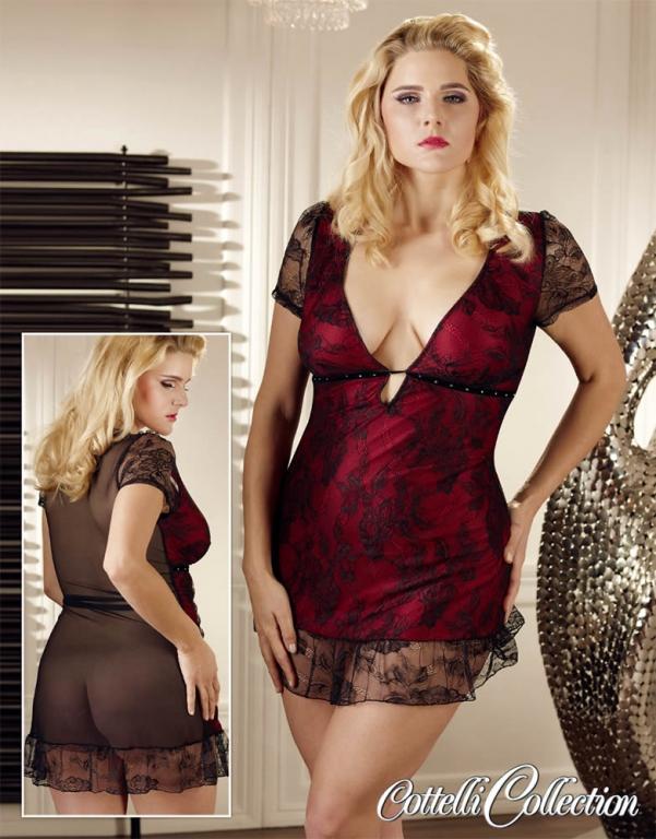 XL Minikjole i rød med Sorte Blonder XXX-Large
