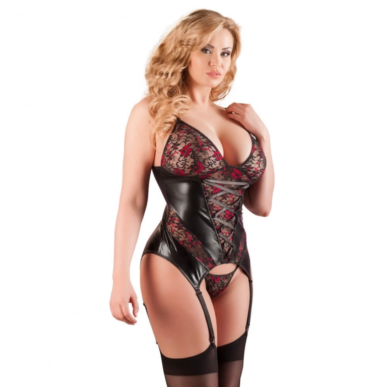 Blonde og Wetlook Bustier med Trusse XX-Large