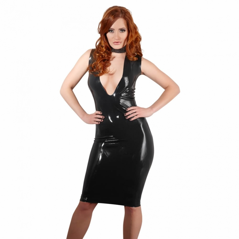 Latex kjole i sort X-Large